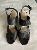NWOB Vince Camuto Delinda Leather Ankle Strap Wedge Sandal Women's Sz 11M Black