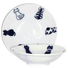"""Japanese 5.5""""D x 1.5""""H Porcelain Sitting Cat Soup Snack Rice Bowl, Made in Japan"""