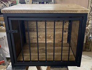 Dog Crate Cage Rustic Steel And Reclaimed Wood Handmade Furniture