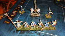 Kings of war Skeleton Miniatures x8 and catapult and bag of skeletons Painted