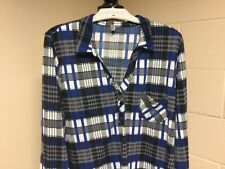 Women's DNA Couture Plus Size 3X Blue Checked Shirt