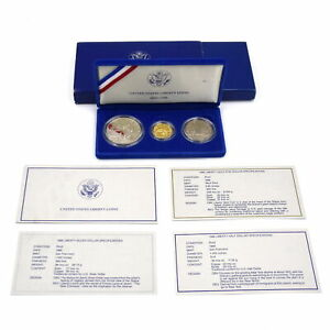 1986 STATUE OF LIBERTY 3PC COIN PROOF SET 90% GOLD $5 90% SILVER DOLLAR OGP