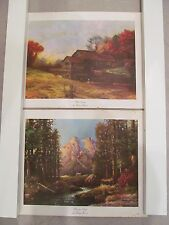 Vintage Robert Wood Litho Prints Majestic Peaks & Mill Stream 11 x 14 Lot-2