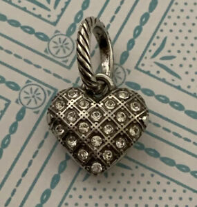 Brighton Crystal SPARKLE HEART Pave Embedded  Two-Sided Silver ABC Charm