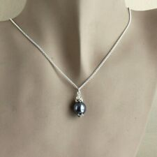 Dark slate grey vintage pearl silver chain wedding bridesmaid pendant necklace