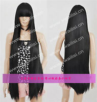 New Long Black Cosplay Party Straight Wig Hair 100cm