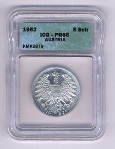 AUSTRIA  1952  5 SCHILLING COIN GEM PROOF, ICG CERTIFIED PR-66, SUPERB!