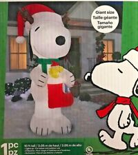 NEW 10 FT TALL GEMMY CHRISTMAS PEANUTS SNOOPY ANTLERS RED STOCKING INFLATABLE