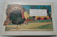 Holiday Postcard Wishing you a Happy Thanksgiving Turkey Grape Vine Embossed VTG