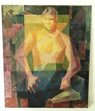 Mid Century Modern Abstract Cubist Portrait Nude Painting Gris Braque Picasso