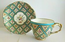 ANTIQUE COALPORT SEVRES STYLE PORCELAIN CUP AND SAUCER WITH FLORAL DECORATION