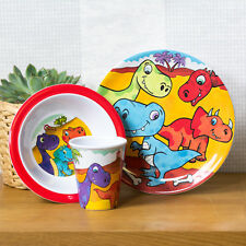 3 Piece Plastic Childrens Kids Dinosaur Dinner Breakfast Set Plate Bowl Tumbler