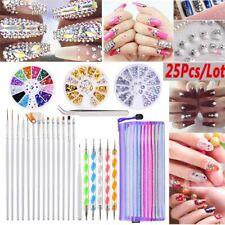 25x Nail Art Brushes Pen Dotting Tool Rhinestones Pearl Bead Wheel Tweezers Kit