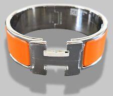 Hermes [77] Orange Enamel & AG CLIC CLAC H Wide Bangle Bracelet Sz PM, BNIB !