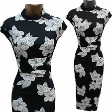 KAREN MILLEN Black White Satin Chinese Oriental Floral Cocktail Wiggle Dress 8UK