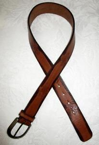 FOSSIL TOOLED LEATHER BELT with BRASS BUCKLE  Size S