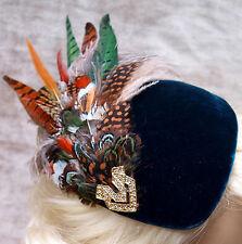 Chapeau Jules Vintage Hat Dark Green VELVET PHEASANT FEATHER PERCHER HAT Wedding