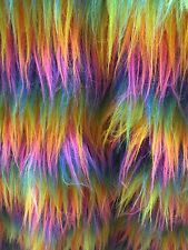 RAINBOW MULTI-COLOR FAUX FUR MONGOLIAN FUR LONG PILE HAIR FABRIC BY THE YARD
