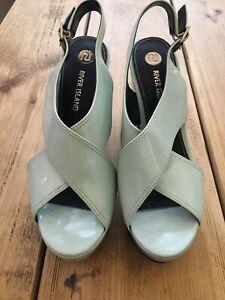 River island Ladies Tiffany Blue PVC Platform Wedge shoes UK 4 New Other RRP £50