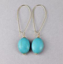 """turquoise teardrop earrings oval pendant dangle drop 2 5/8"""" long lightweight"""