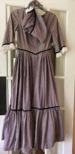 Civil War Dress + Bonnet Victorian  Costume Prairie Reenactment Eyelet Ruffle