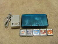 Nintendo 3DS BLUE System HUGE Bundle 5 Games + Charger---TESTED