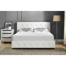 Upholstered Bed Frame Full Size Modern Tufted Headboard White Bedroom Furniture