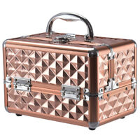 Beauty Cosmetic Makeup Case Organizer With Mirror & Extendable Trays  Rose Gold