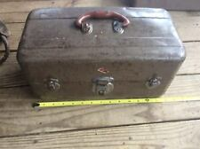 Vintage Union Metal Tackle Box, Utility, Pull Out Metal Drawer, Green & Brown