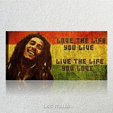Bob Marley 4 QUADRO 90x45 STAMPA TELA ARREDAMENTO CASA CAMERA QUADRI GIAMAICA
