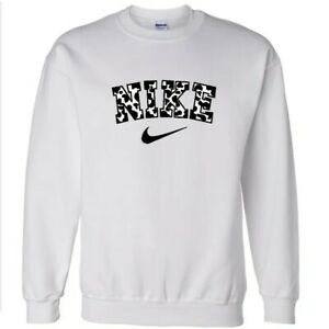 Custom Cow Print Crewneck Sweater | White Styled Sweater | Vintage Inspired...