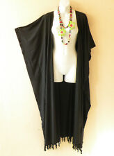 Black Batik Cardigan Duster Kaftan Batwing Plus Size Long Hippy Jacket -up to 5X