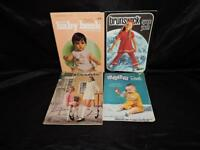 Lot 4 Vintage Knitting Pattern Books Baby Kids 50s 60s Clothing Sweater Dress