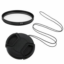 77mm UV Filter & Universal Centre Pinch Snap On Lens Cap + Keeper UK Seller
