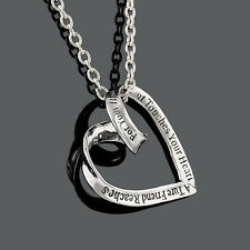 Womens Retro Silver Leart Heart Charm Pendant Vintage Long Chain Necklace Gift