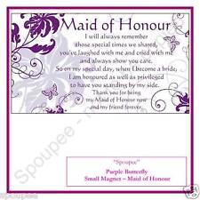 MAID OF HONOUR POEM GIFT FRIDGE MAGNET wedding purple butterfly design 50x90 mm