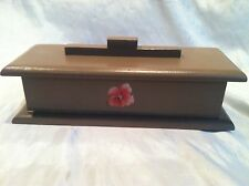 Light Brown Coffin Shaped Wood Box Jewelry Trinket Hand Made In Ags. Mexico 12""