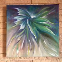 modern abstract art oil painting on canvas framed Green White Blue color Gift