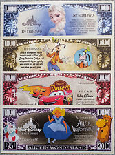 Set of 4 different Fantasy Disney paper money Au-Unc.