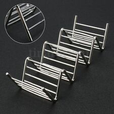 4 Hard Shells Wave Shape Stainless Steel Taco Stand Up Holders Mexican Food Rack