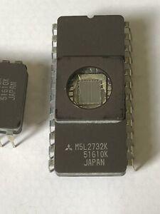16 x Mitsubishi  M5L2732K EPROM, 4K x 8, 24 Pin, Ceramic, DIP