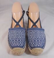 White Mountain HIGHLAND Womens Sandals Sz 8 M Fabric Strappy Close Toe Blue Tan
