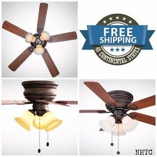 """44"""" Oiled Rubbed Bronze Indoor Ceiling Fan With Light Kit Flush Mount New"""