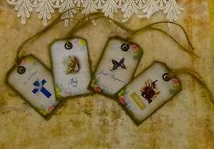 """Easter's Here_4pc shabby chic tag lot1. 2 x 3"""". Handmade. Craft, Scrapbook, card"""