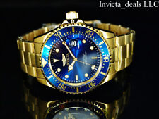 Invicta Men's 43mm Pro Diver SUBMARINER Blue Dial 18K Gold Plated 200m SS Watch