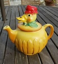 Regal China Art Pottery DUCK TEAPOT Old MacDonald Farm yellow red hat fence RARE