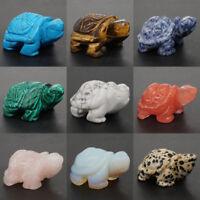 "2"" Wholesale Gemstone Crystal Chakra Healing Reiki Carved Turtle Statue Crafts"