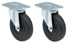 """E.R. Wagner 5"""" Plate Caster, Swivel, 280 lbs, 1-1/4"""" Tread, 11/32"""" Holes, 2-Pack"""