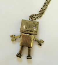 funky Cute moveable Joint Robot Gadget kitsch quirky necklace retro vintage Gift