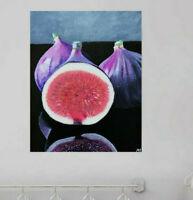 Tableau peinture nature morte fruit art contemporain décoration toile signée